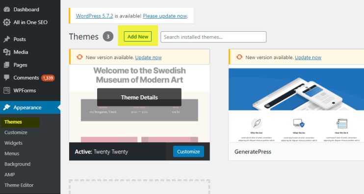 add new theme - WPadmin