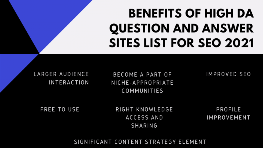 BENEFITS OF HIGH DA QUESTION AND ANSWER SITES LIST FOR SEO 2021