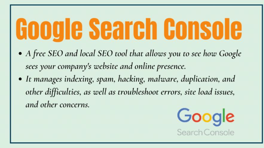 Google Search Console - local seo tool