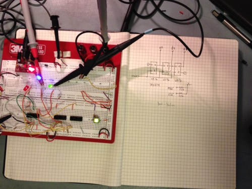 The three phase signal generator schematic and layout on a breadboard using 74LS TTL logic.