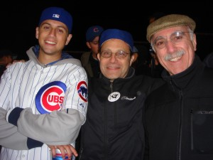 at Wrigley with Leo Gilbert and Richard Brick -- all smiles, but that was before the game!