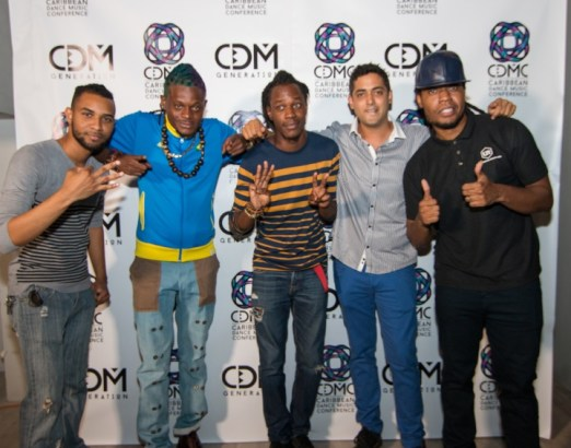 From Left - Kevin Beharry of System32, Olatunji, Mical Teja of System32, Sebastian Leonard and MX Prime of Ultimate Rejects. Photo courtesy GlowTT
