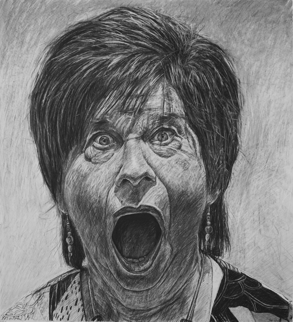 """Hilary, 42"""" x 46"""", charcoal on paper, 2017"""