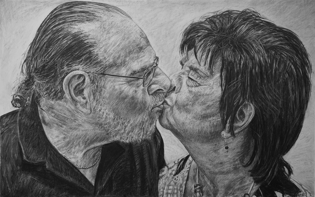 """Hilary & Jerry, 65"""" x 42"""", charcoal on paper, 2017"""
