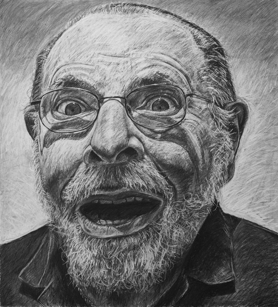 """Jerry, 42"""" x 46"""", charcoal on paper, 2017"""