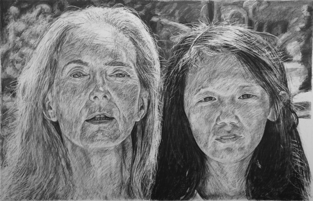 """Robin & Sophie, 84"""" x 48"""", charcoal on paper, 2017"""