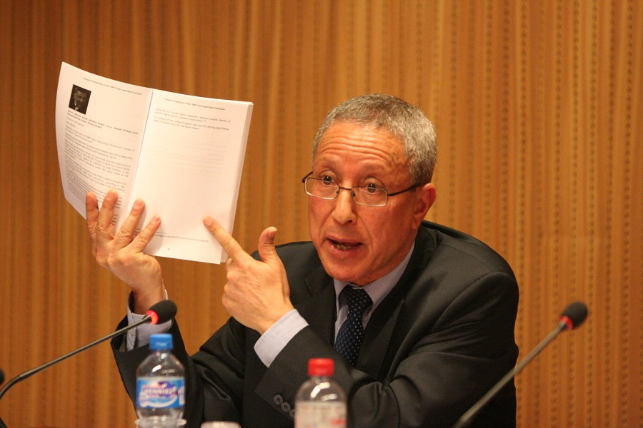 Tahar Boumedra, representative of the JVMI and former Chief of the Human Rights Section of the UN Assistance Mission in Iraq (UNAMI), spoke about the need to investigate the 1988 massacre at a Side Event on the 'Human Rights Situation in Iran' on 6 March 2018 at the Palais des Nations, Geneva.