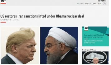Photo of AP NEWS's report about US sanctions against Iranian regime on November 3