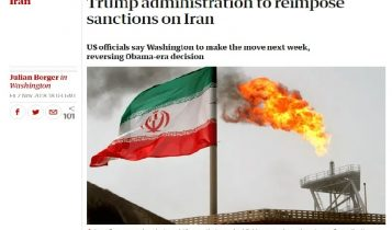 Photo of THE GUARDIAN's report about US sanctions against Iranian regime on November 2