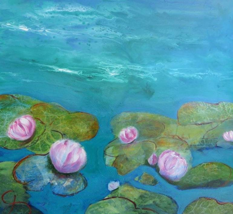 blue-lagoon-with-waterlilies-gabi-dick-bluethumb-art