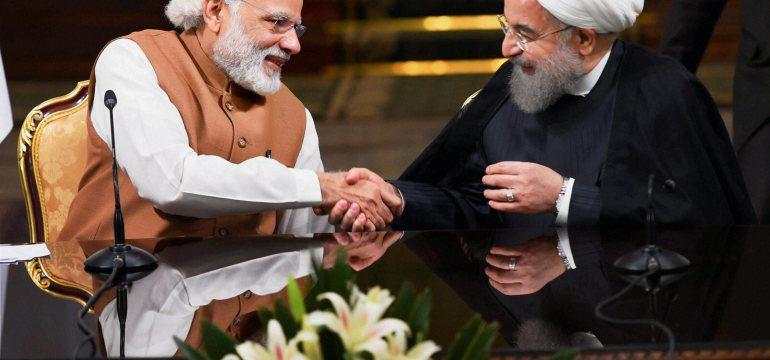 Narendra Modi with Iranian President Hassan Rouhan