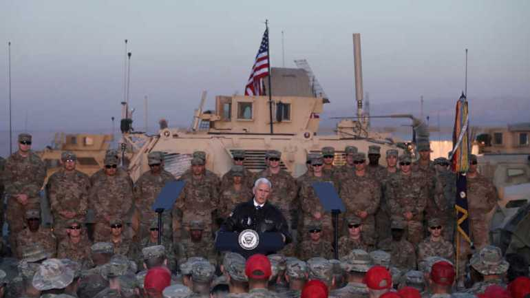U.S. Vice President Pence delivers remarks to U.S. troops at a U.S. military facility at Erbil International Airport in Erbil, Iraq