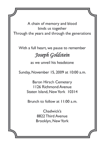 Tombstone Unveiling Invitation Cards Paperinvite