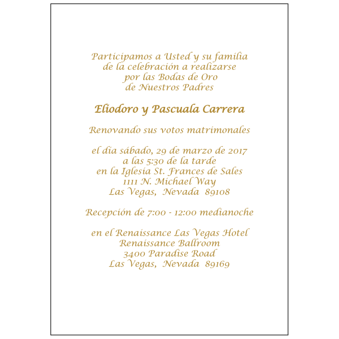 Spanish Wedding Anniversary Party Invitation Style 1r