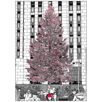 Front Cover of Christmas Holiday Card Rockefeller Center Tree