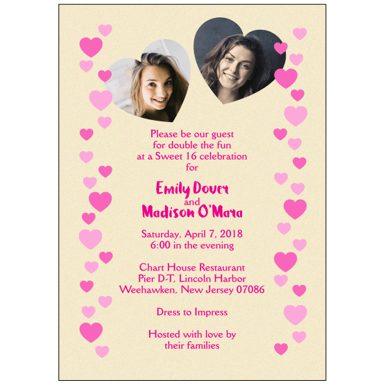 Sweet 16 Invitation with Photos of Two Different Girls