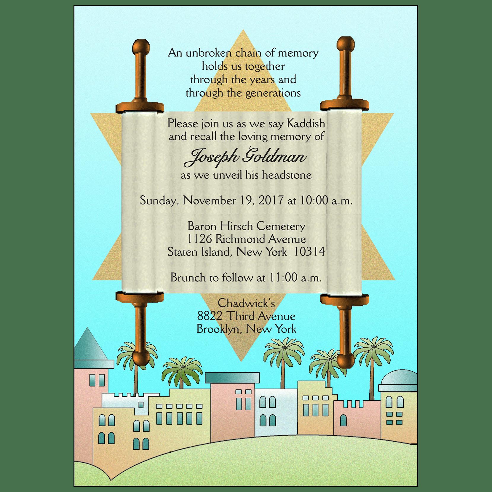 Jewish Unveiling Ceremony Invitation IPV Studio