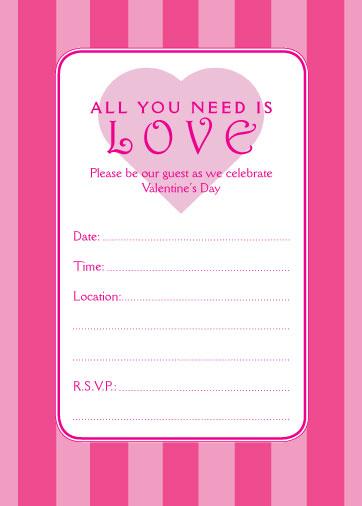 Magenta Stripes - Valentines Day Party Invitation - Fill in