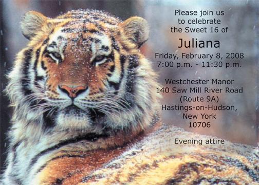 Tiger Animal Theme Invitation