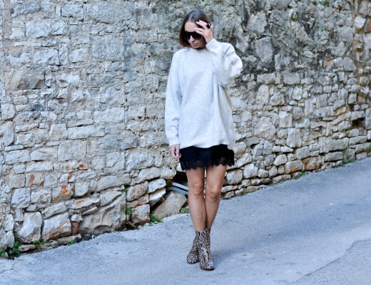 Style of the day - Cashmere&Lace. How to style a cashmere sweater over a lace dress.