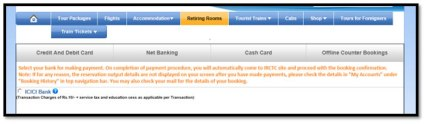 Payment for Book Retiring Room Online