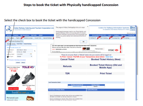 Handicappe Ticket Booking Process