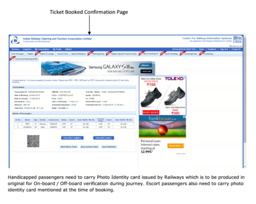 Online Disable Concession Ticket Process