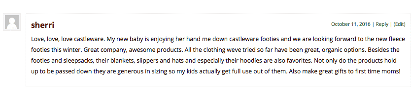 Text containing Sherri's opinion about Castleware natural pajamas.