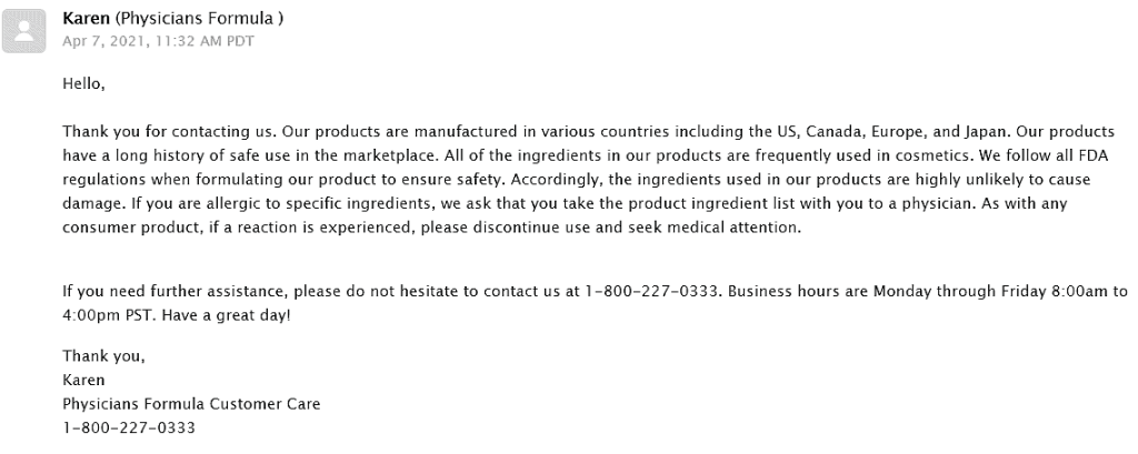 An email response from the Physicians Formula foundation company about Physicians Formula the healthy foundation colorants.