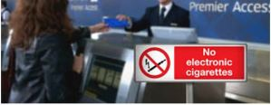 e-cigarettes use not allowed on planes