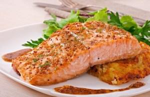 Salmon a la mostaza en el horno
