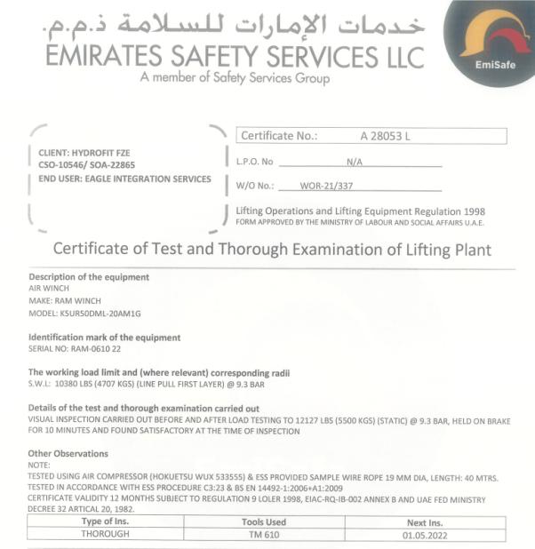 RAM K5UR50DML-20 Air Winch EMISAFE Certification