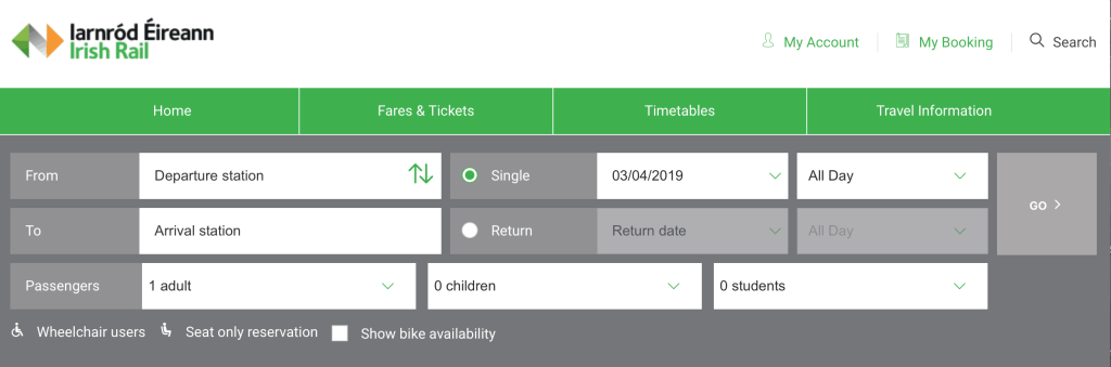 Irish rail booking