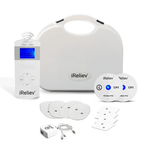 Whats included for Wireless TENS + EMS Unit from iReliev, iReliev, TENS + EMS System, TENS unit, EMS Muscle Stimulator
