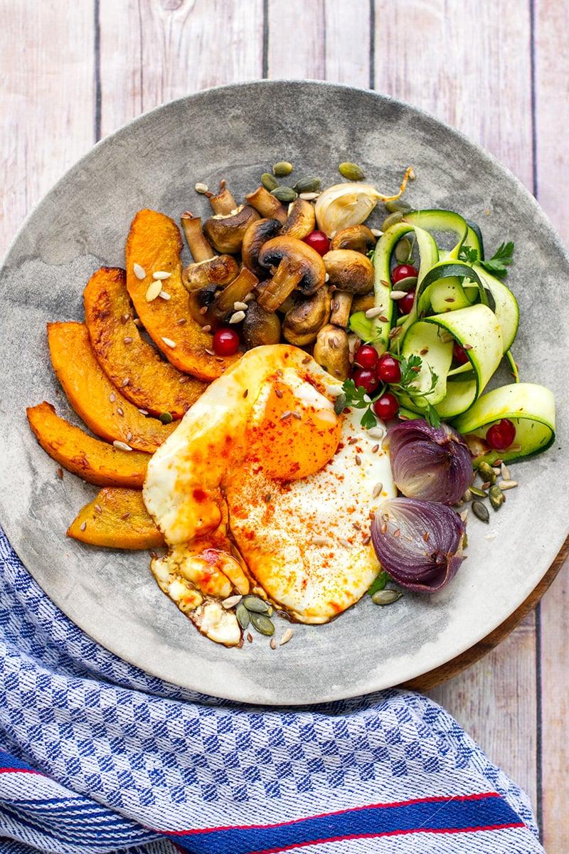 Turmeric Fried Eggs With Roasted Pumpkin
