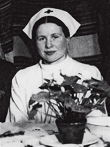 Irena Sendler in a nurse's outfit during WWII