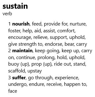 sustain - thesaurus entry