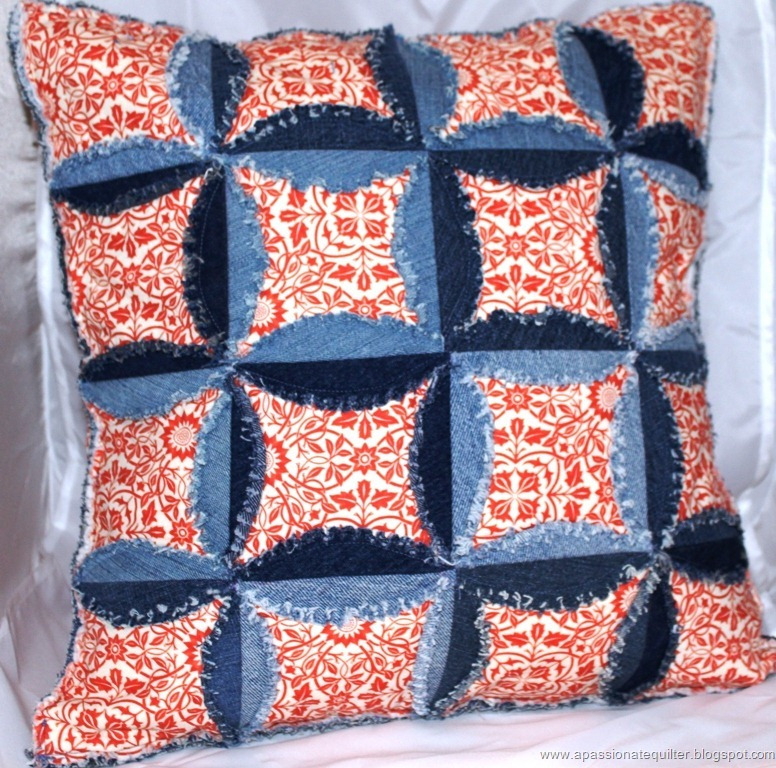 Denim Cathedral Window Pillow Part 1
