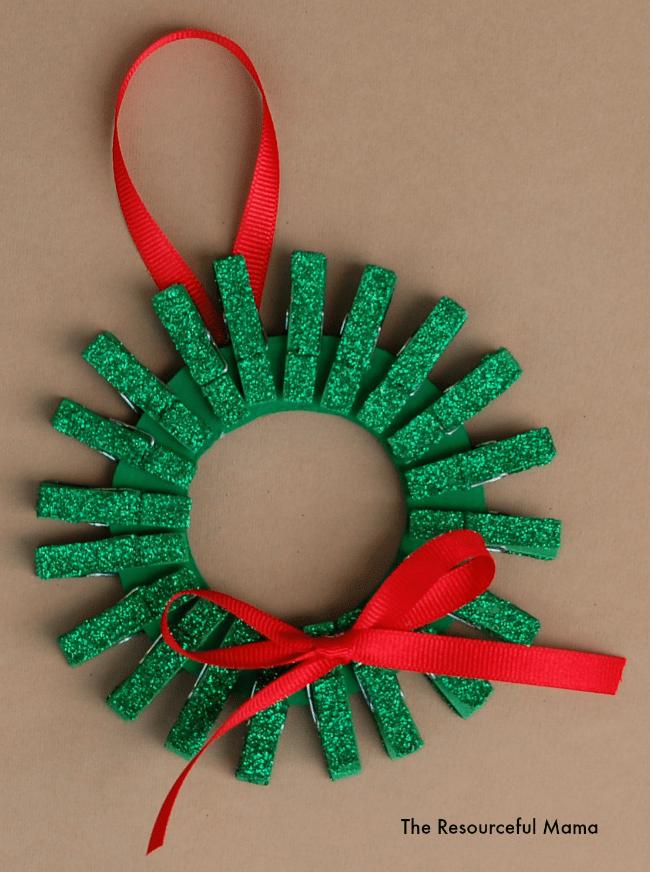 Mini Clothespin Christmas Wreath Ornament