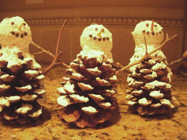 Pinecone Snowman Ornament