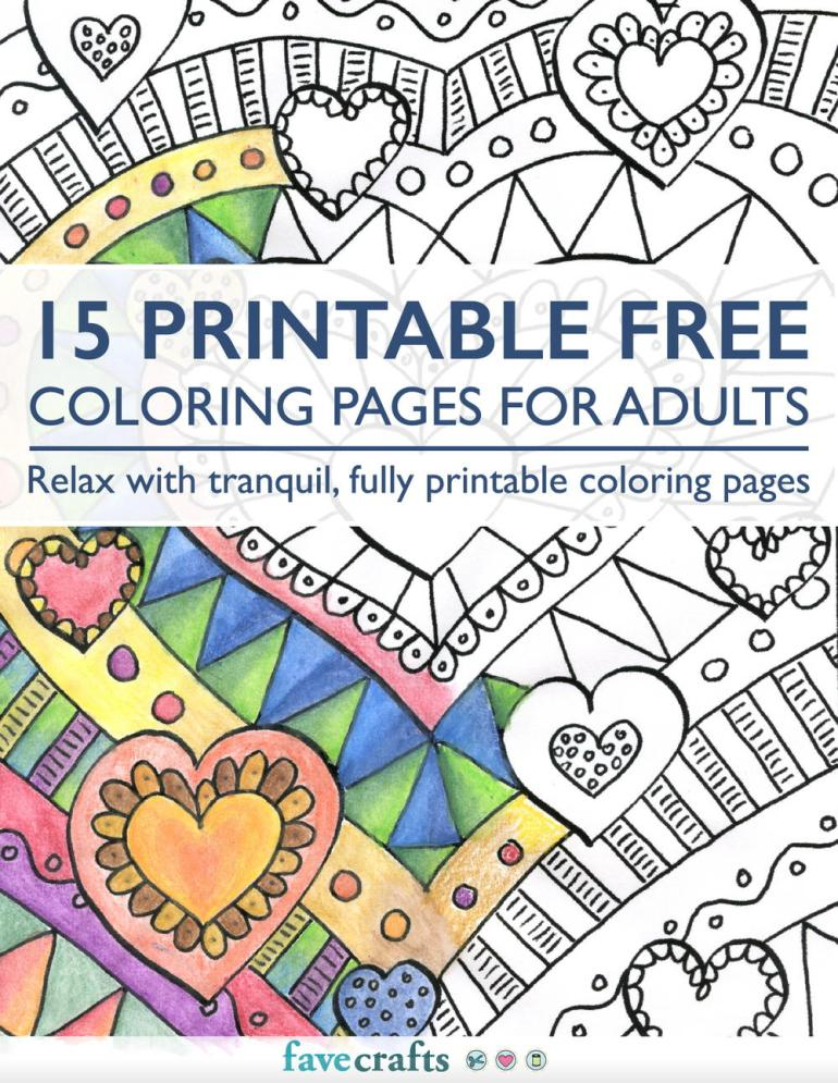 15 Printable Free Coloring Pages for Adults free eBook ... | printable coloring pages for adults