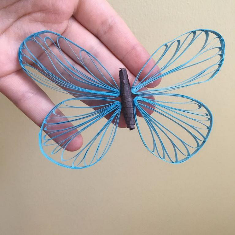 Shimmering Ice Blue Quilled Butterfly