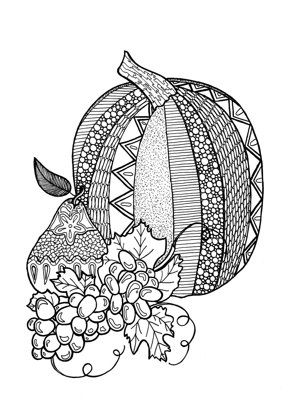 Textured Pumpkin Adult Coloring Page