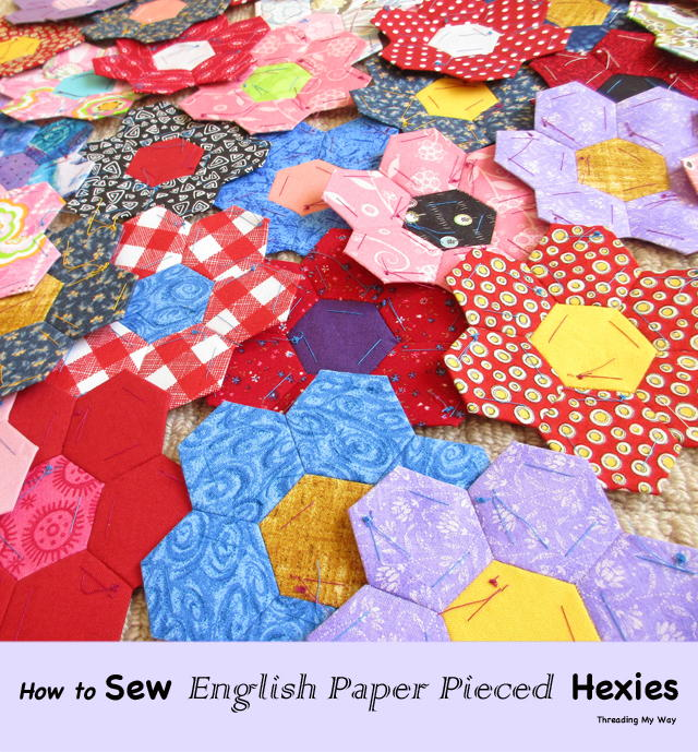 Sewing English Paper Pieced Hexagons
