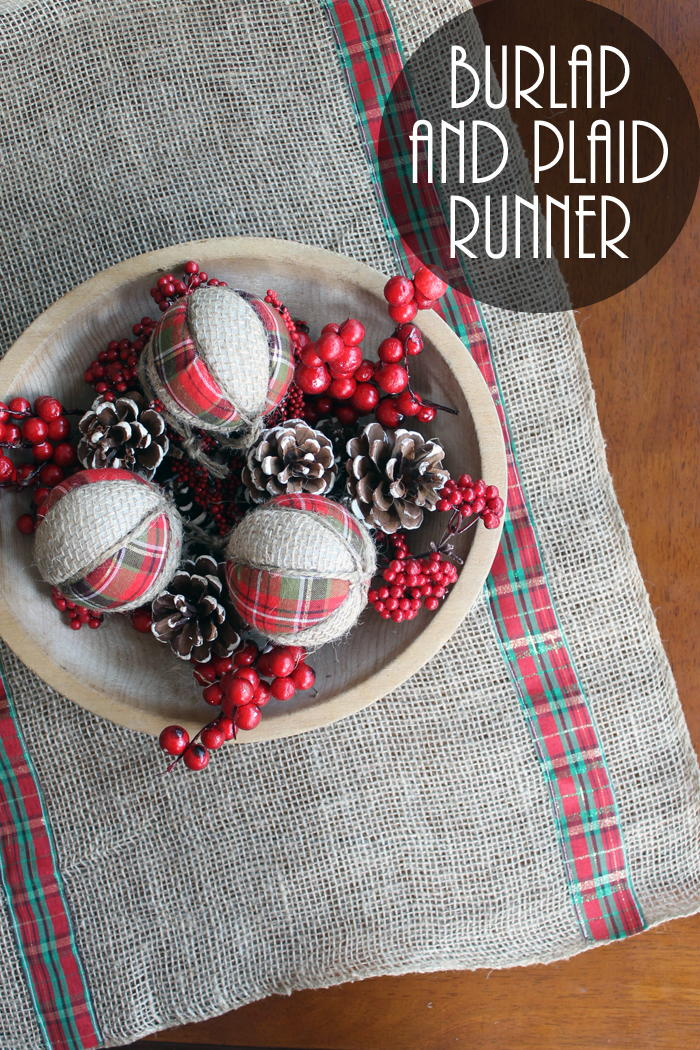 Burlap And Plaid Table Runner For Christmas Favecrafts Com