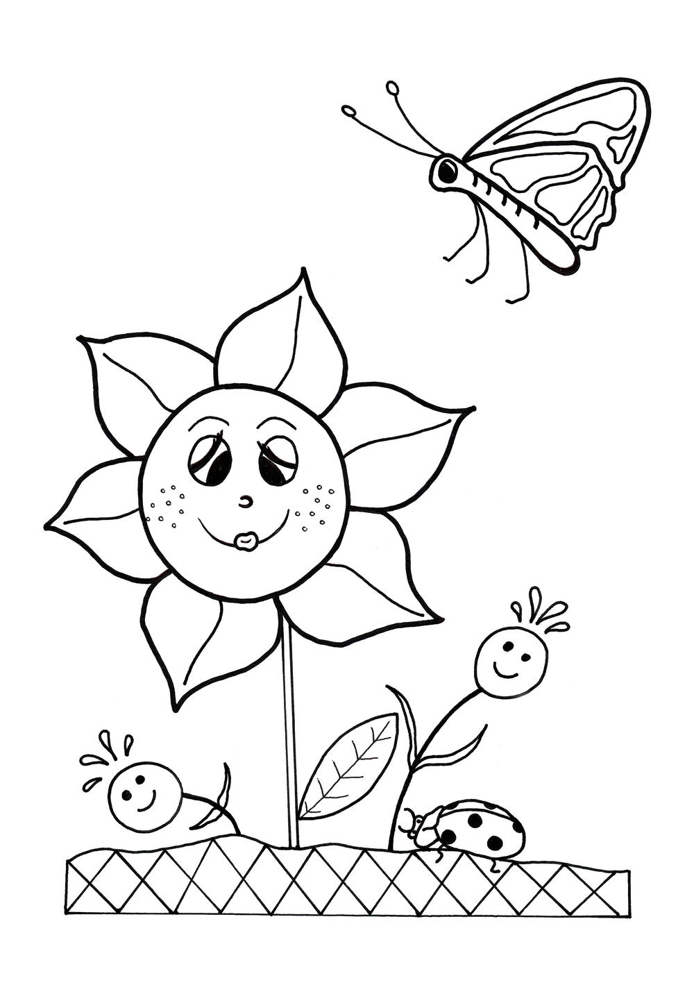 Dancing Flowers Spring Coloring Sheet | AllFreeKidsCrafts.com | spring flower coloring pages