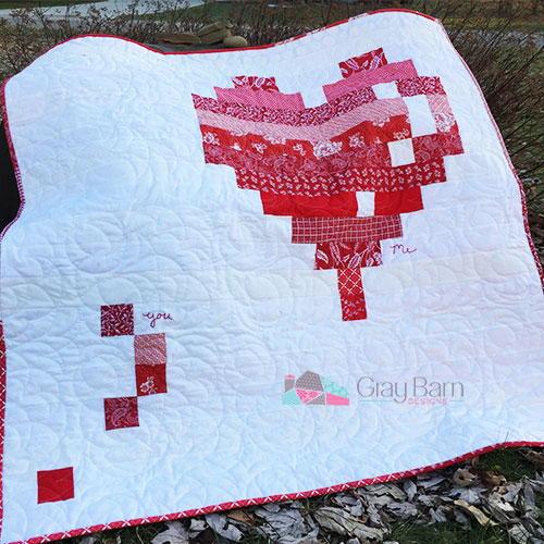 E Heart Quilt Pattern