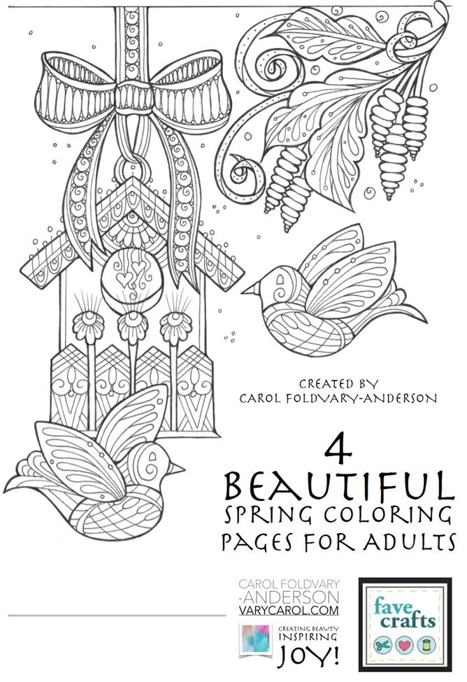 4 Beautiful Spring Coloring Pages for Adults | FaveCrafts.com | free printable spring coloring pages for adults