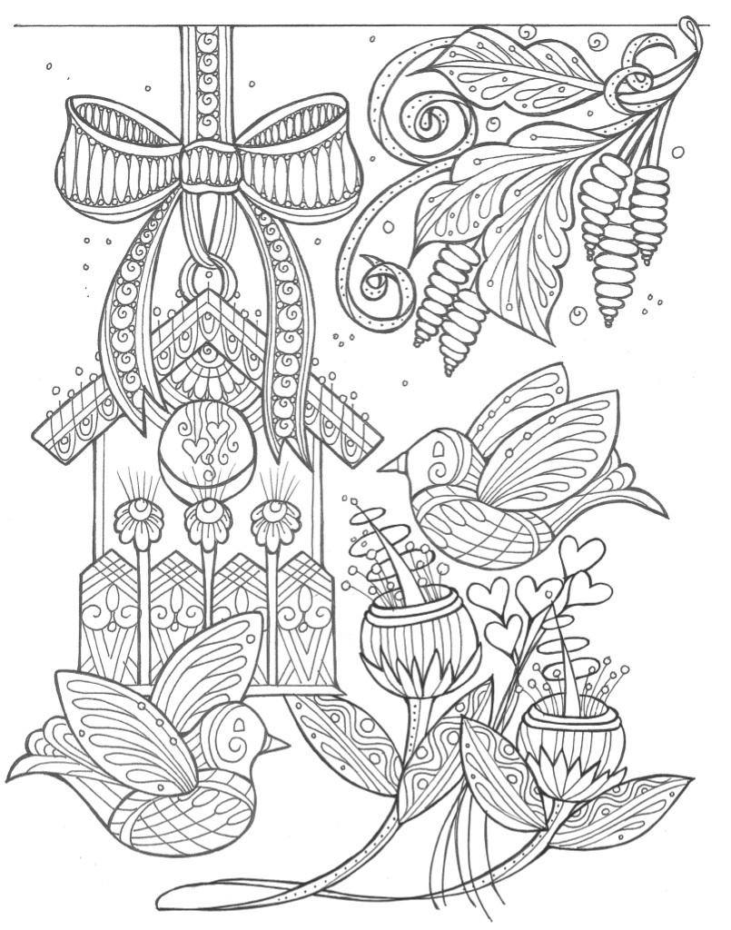 Birds and Flowers Spring Coloring Page | FaveCrafts.com | free printable spring coloring pages for adults