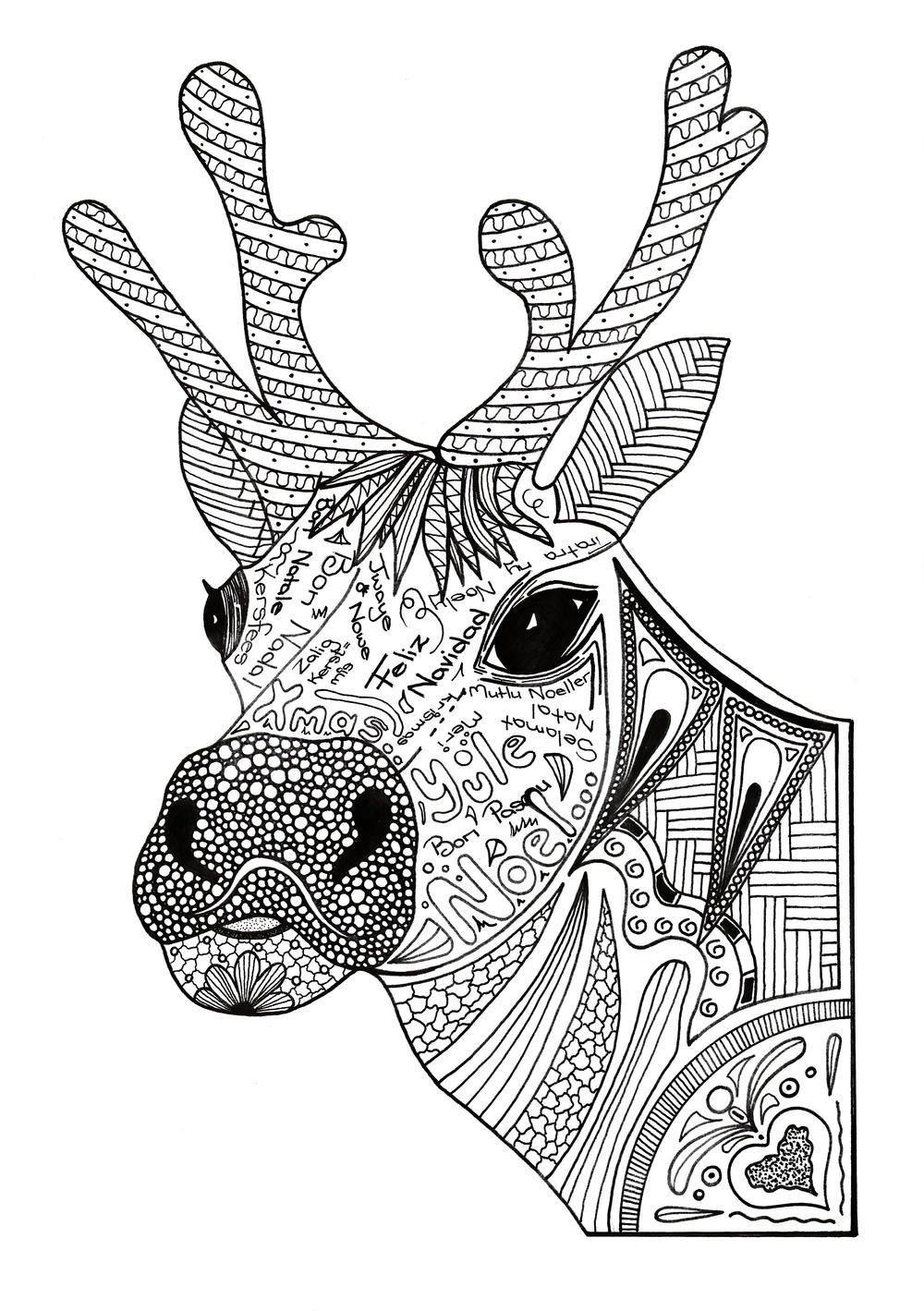 Christmas Reindeer Adult Coloring Page | FaveCrafts.com | coloring pictures for adults animals